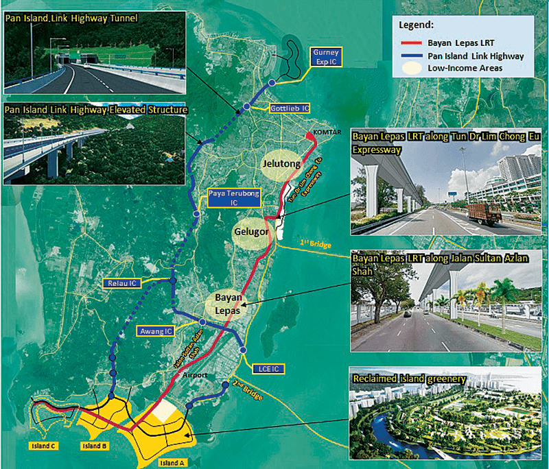 A snapshot of proposed projects in Penang Transport Master Plan, including the two monorails, the LRT, the tram and the Pan Island Link (with tunnels)